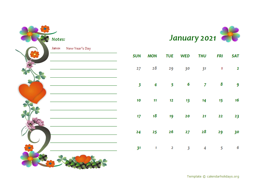 2021 MONTHLY FLORAL CALENDAR TEMPLATE DESIGN